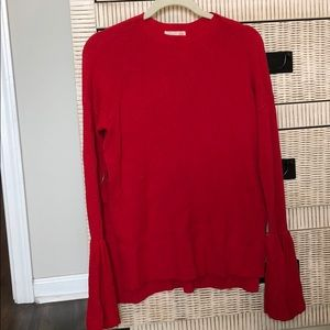 Red sweater with bell sleeves